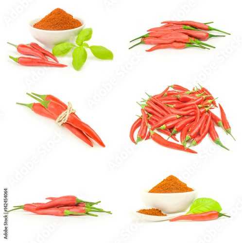 Staande foto Hot chili peppers Collage of hot spices
