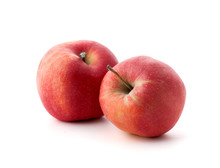 Two Red Ripe Apples On A White Background..