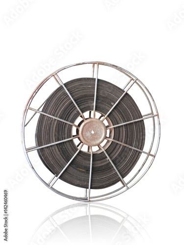 Foto op Plexiglas Retro old film reel on white background with clipping path.