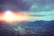High angle view. Cloud mountain sky. Sunrise, sunset