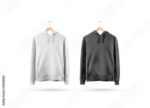 Blank black and white sweatshirt mockup hanging on wooden hanger ...