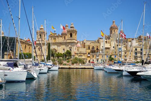 Canvas Prints Ship The yachts and boats moored in the harbor in Dockyard creek. Birgu. Malta
