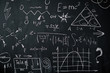 Background shot of blackboard with scientific and algebraic formulas and graphs written on it in chalk