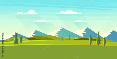 Poster Turquoise Beautiful vector landscape.
