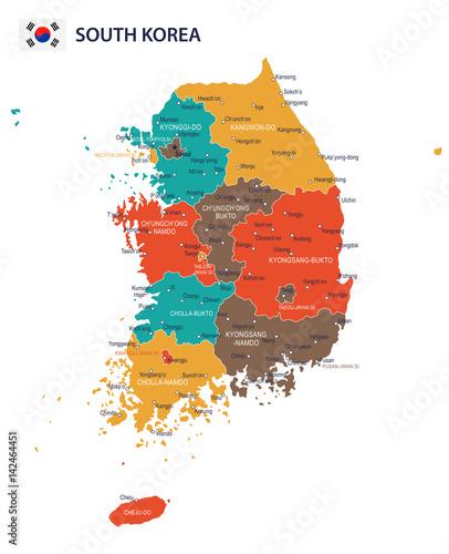 South Korea Map Flag on