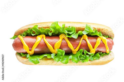 Carta da parati Hot dog with big sausage and salad isolated on white background