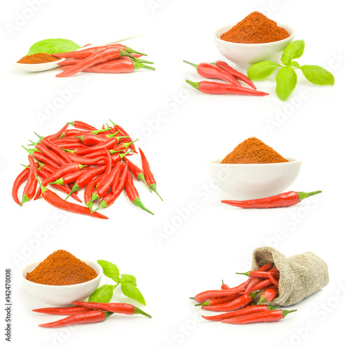 Staande foto Hot chili peppers Collection of red hot chili pepper over a white background