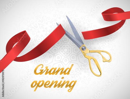 Fotografía  Grand opening illustration with red ribbon and gold scissors isolated on white