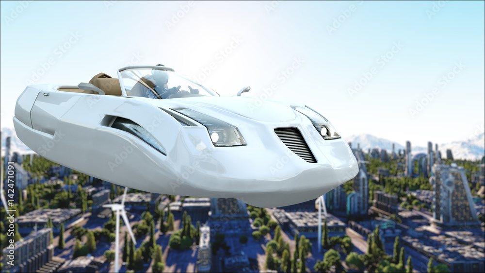 Fototapety, obrazy: futuristic car flying over the city, town. Transport of the future. Aerial view. 3d rendering.