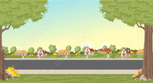 Foto op Canvas Pistache Colorful houses in suburb neighborhood. Green park landscape with grass, trees, flowers and clouds.