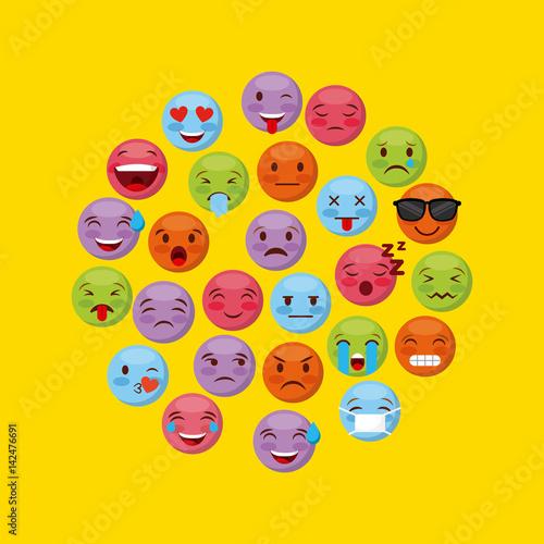 Foto op Aluminium Schepselen emoticons faces in circle shape over yellow background. vector illustration