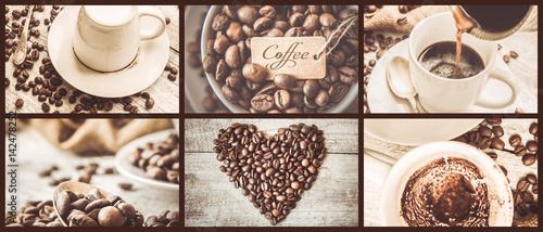 Café en grains collage of coffee. a lot of pictures. selective focus.
