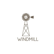 Simple Vector Illustration Of Old Farm Windmill