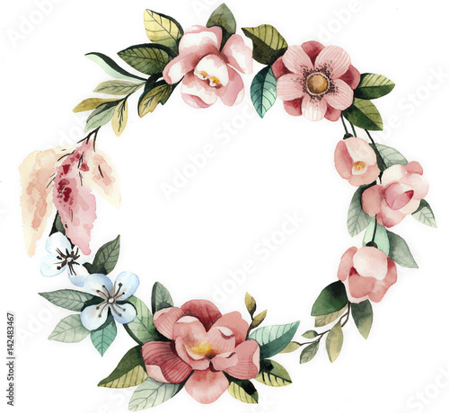 Foto op Canvas Bloemen Watercolor floral wreath with magnolias, green leaves and branches.