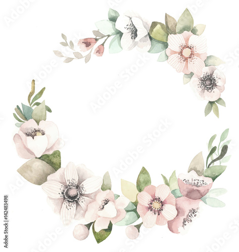 Poster Fleur Watercolor floral wreath with magnolias, green leaves and branches.