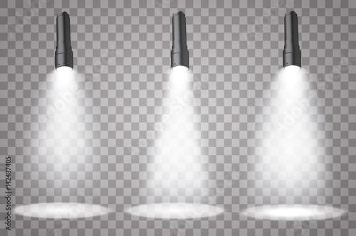 Foto op Canvas Licht, schaduw Flashlight on a transparent background Set