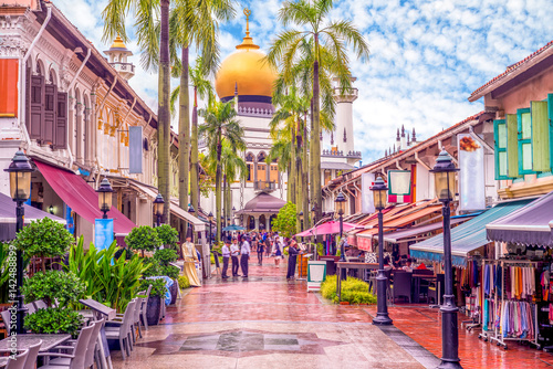 street view of singapore with Masjid Sultan Canvas Print
