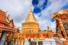 Golden Pagoda At Wat Phra That Doi Suthep In Chiangmai Province Of Thailand. They Are Public Domain Or Treasure Of Buddhism, No Restrict In Copy Or Use.