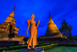 Leinwanddruck Bild - Standing buddha at Sukhothai historical park where is the old town of Thailand