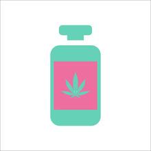 Medical Marijuana Bottle Simple Flat Icon On Background