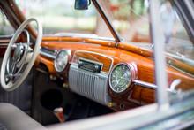 Retro Car, Retro Torpedo Car, Vintage Steering Wheel