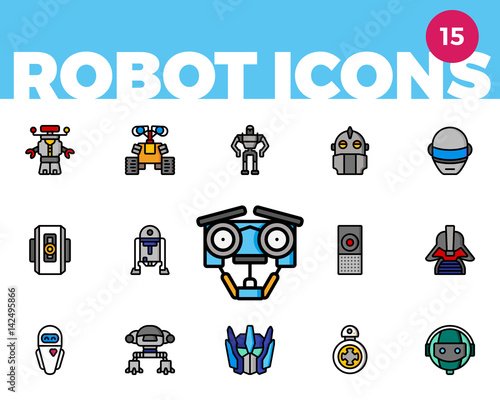 Robot Icons 4 of 4 (Ultra Color) Canvas Print