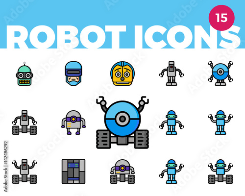 Robot Icons 3 of 4 (Ultra Color) Wallpaper Mural