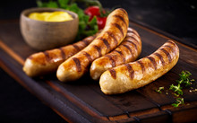 Four Tasty Grilled Pork Sausages From A BBQ