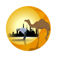 Man Praying And Camel With Sunset Background