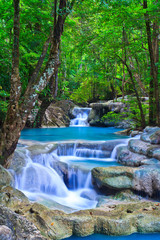 Panel Szklany Polecane Erawan waterfall in Kanchanaburi province of Thailand