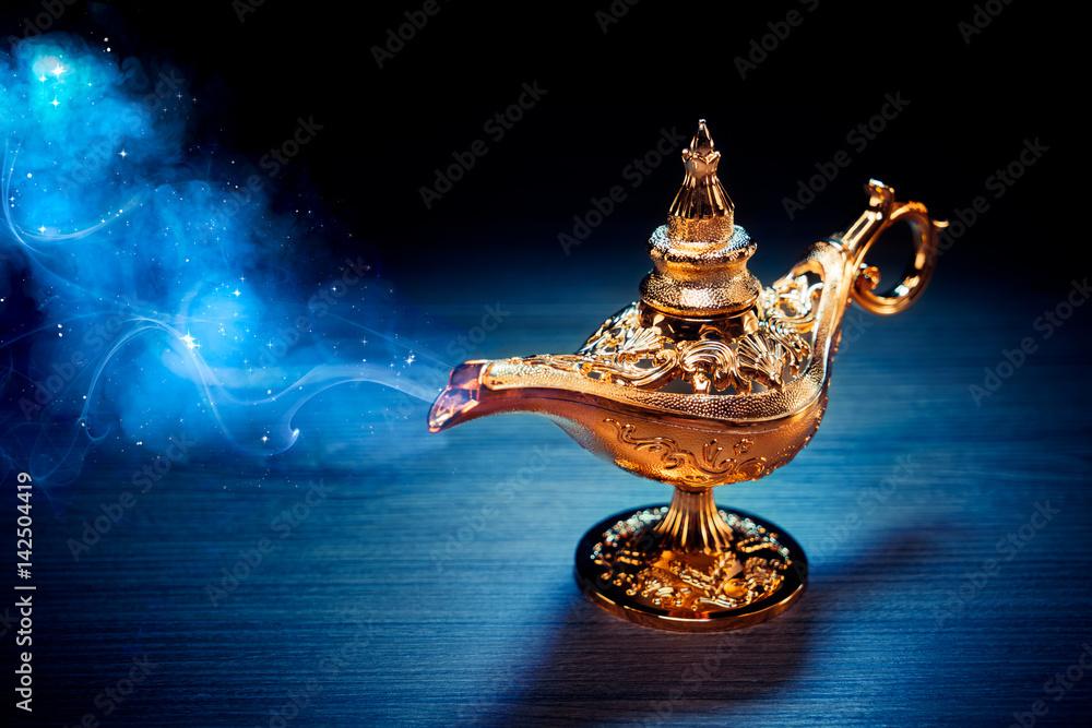 Fototapety, obrazy: Magic Aladdin / Genie lamp with smoke on a dark background