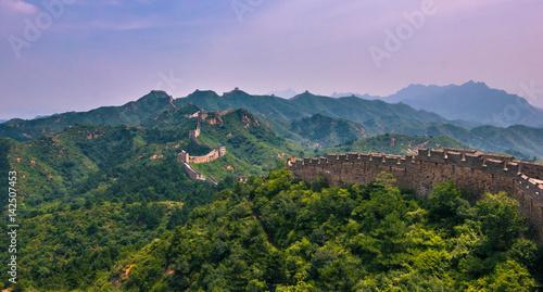 Fotografia China - July 19, 2014: Panorama of the Great Wall of China in Jinshanling