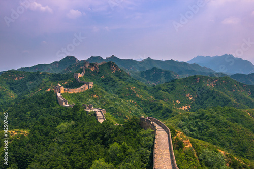 Stickers pour portes Muraille de Chine China - July 19, 2014: Panorama of the Great Wall of China in Jinshanling