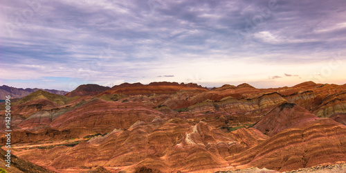 Tuinposter Purper Zhangye, China - August 03, 2014: Rainbow Mountains of the Danxia Landform in Zhangye, China