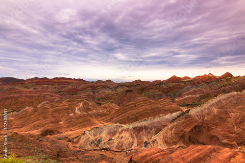 Poster Purper Zhangye, China - August 03, 2014: Rainbow Mountains of the Danxia Landform in Zhangye, China