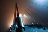 Fototapeta Fototapety mosty linowy / wiszący - Hanging rope bridge, dense fog.