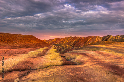 Spoed Foto op Canvas Koraal Zhangye, China - August 03, 2014: Rainbow Mountains of the Danxia Landform in Zhangye, China