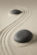zen meditation, sand and stone background texture. Spa wellness or yoga theme for concentration relaxation and spirituality...
