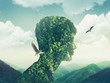canvas print picture - creative double exposure man nature, sky, green forest