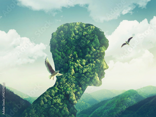 creative double exposure man nature, sky, green forest
