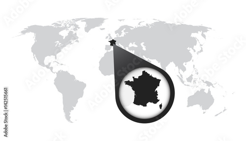 World map with zoom on France. Map in loupe. Vector illustration in ...