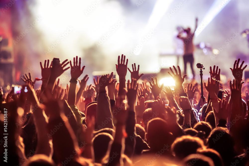 Fototapeta crowd at concert - summer music festival