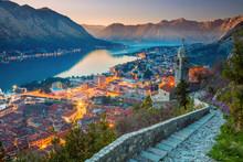 Kotor, Montenegro. Beautiful Romantic Old Town Of Kotor During Sunset.