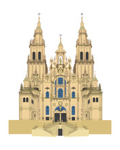Santiago De Compostela Cathedral, Spain. Isolated On White Background Vector Illustration.