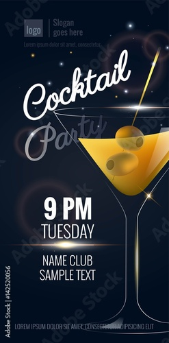 cocktail party invitation flyer or poster design with cocktail