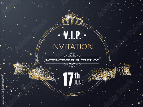 Vip Party Premium Invitation Card Poster Flyer With Curving Ribbon