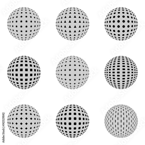 Fotografie, Obraz  Set of spheres with different holes