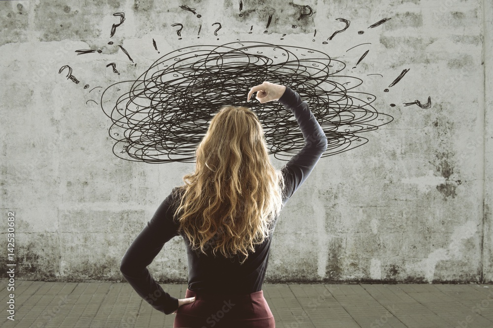 Fototapeta woman with the concept of the problems and stress