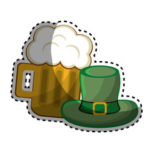 Beer Glass With Foth And St Patrick Hat