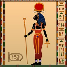 Religion Of Ancient Egypt. Sekhmet - Goddess Of The Scorching Sun, War And Healing. Ancient Egyptian Goddess With The Head Of A Lioness. Vector Illustration.